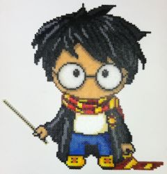 Perler Art: ChibiHarry Potter by thewiredslain