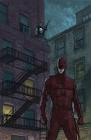 Daredevil and the Punisher in Hell's Kitchen by benttibisson