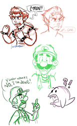 Stream Doodles: Bowser and Luigi by lewisrockets