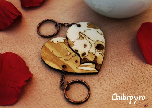 Bunny and Goat keychain by ChibiPyro