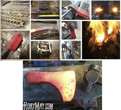 Collage of steps forging an Axe by isolatedreality
