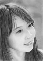 Pencil portrait of a Cute Chinese girl by LateStarter63