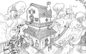 Treehouse Village Line Art by Ninjerina
