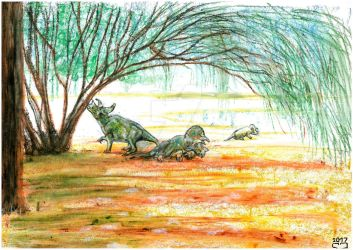 Avaceratops and watering hole by PedroSalas