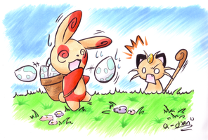spinda and meowth easter vers.