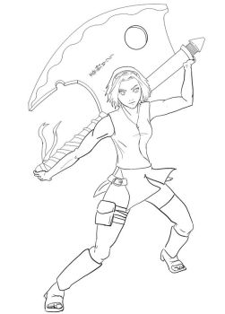 Haruno Sakura with Axe LineArt by itchygrossrash