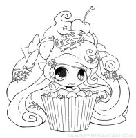 Cupcake Girl Lineart by YamPuff