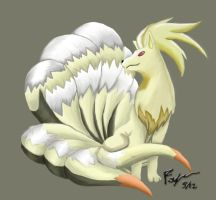 Ninetails Digitally Painted by tfordyce-punkie