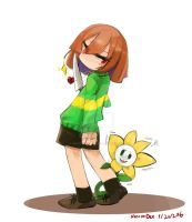 Chara and Flowey by NecoroDee1000