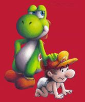 Yoshi and Baby Mario by Komare3232