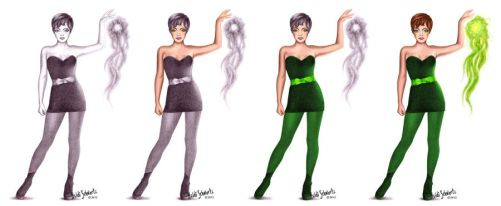 Superhero Tinkerbell Character Concept Progression by butterflyeyes884