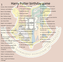 Harry Potter birthday game by FlyingGuineaPig