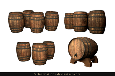 Wooden barrels_Stock by FeriAnimations
