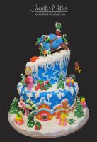 The Grinch and Whoville Cake by ArteDiAmore