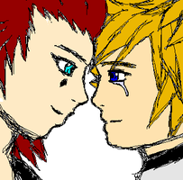 Roxas and Axel by Emptygoldeyes