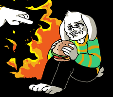 asriel eating a burger in the dark with fire by Putridshitshow