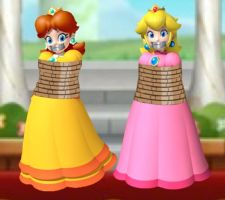 Princess Peach and Daisy Tied Up and Gagged by Goldy0123