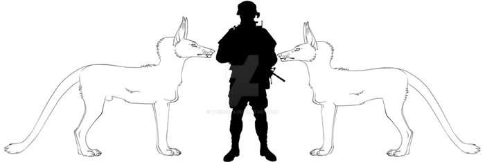 Sutter Hound - Male and Female to Human Size Comp by THEB00BA