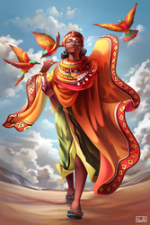Umoja Woman with Bee Eaters by Yseulta