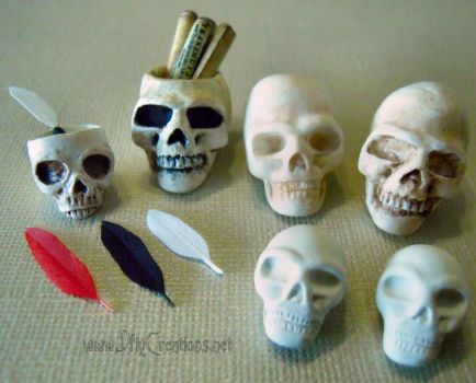 Skulls, Skull Ink Pots, Skull Scroll Holders by DFLY847