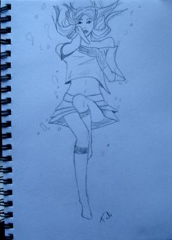 Drowning Girl Sketch by PersephoneWatching