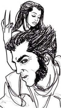 Sketch--Logan and X-23 by purplerebecca