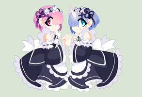 Rem and Ram by MsCreepyPlagueDoctor