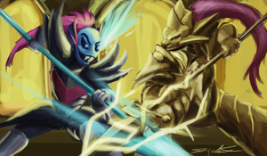 Undyne the Undying vs Dragonslayer Ornstein by eddywardster