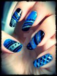 Black, Blue and Silver tripes + dots by ViiviASD