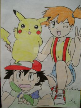 Misty, Ash, and Pikachu by AJLeefan4life