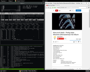 almost default fedora 22: terminal and chrome by tru3fel