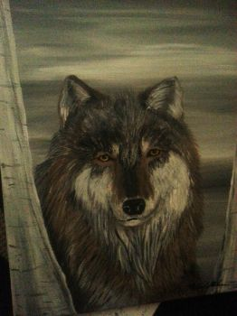 Wolf in the woods - Canvas/Acrylic Painting by EvoEmpyre