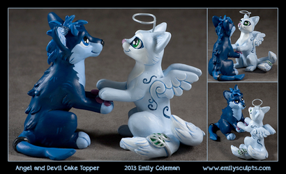 Commission : Angel and Devil Cake Topper by emilySculpts