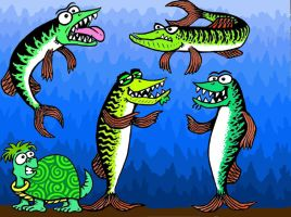 Four Muskies + a Turtle. by TallToonist