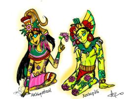 Xochiquetzal and Xochipilli by iluvsponge111