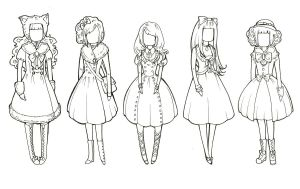 Winter Lolita Sketches 2 by raevynewings