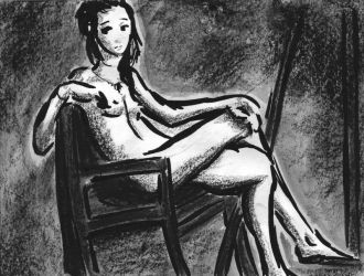 Figure Study in Crayon and Ink by pettyartist