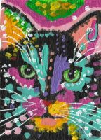 abstract pop art  acrylic painting  cat by tulipteardrops