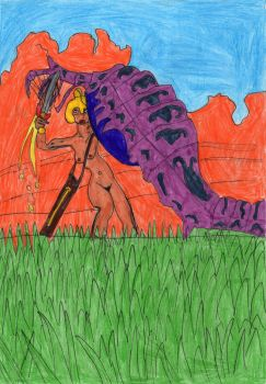 Naked Amazonness VS Violet Worm by LOrdalie