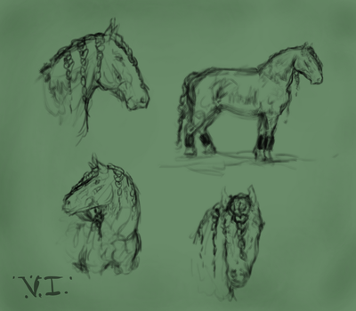 ..: Sketch Batch #1 Baroque Horses :.. by FluffyPinkHorses
