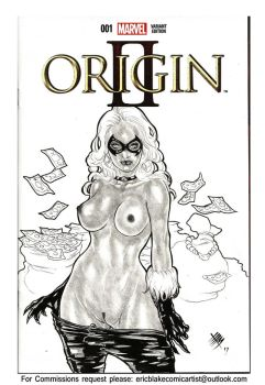 Black Cat Felicia Hardy Sketch Cover Commission by E-Blake