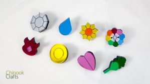 Pokemon Gym Badges: Kanto Region by ChinookCrafts