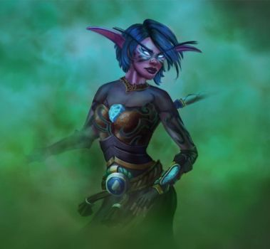 Night Elf Speedpaint by Aleynia
