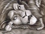 Lion and the mouse Ink wash by Carliihde