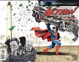 Superman on Action comic blank cover by ickhwano
