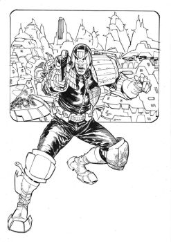 Judge Dredd, private commission, inks. by StazJohnson
