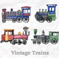 4 Coloured Drawing Vintage Trains Vector by FreeIconsdownload