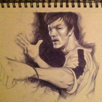 Bruce Lee - Pencil and Ballpoint Pen Portrait by BrianManning