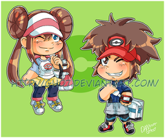 Pokemon BlackWhite 2 Trainer Chibis by GH07