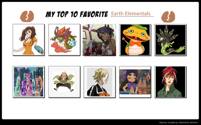 My THIRD Top 10 Favorite Earth Elementals by ajpokeman